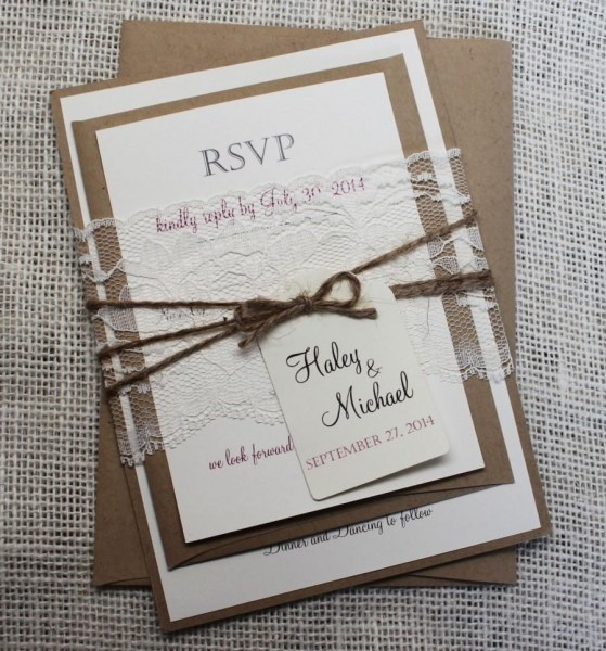 Rustic Wedding Invitation  Lace Wedding Invitation  Shabby Chic