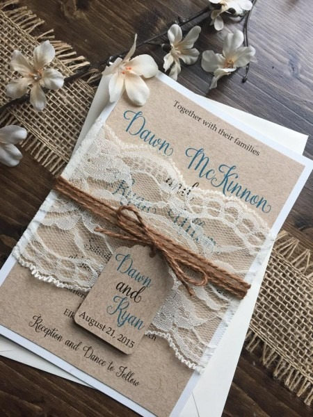 Rustic Wedding Invitation, Vintage Wedding Invitation, Shabby Chic