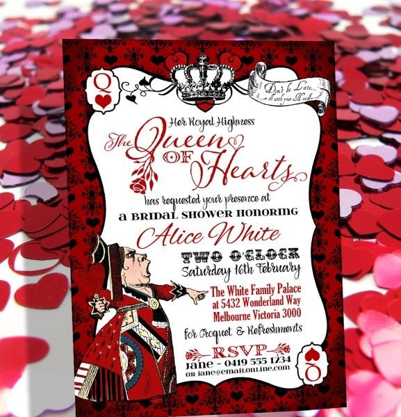 Queen Of Hearts Invitation