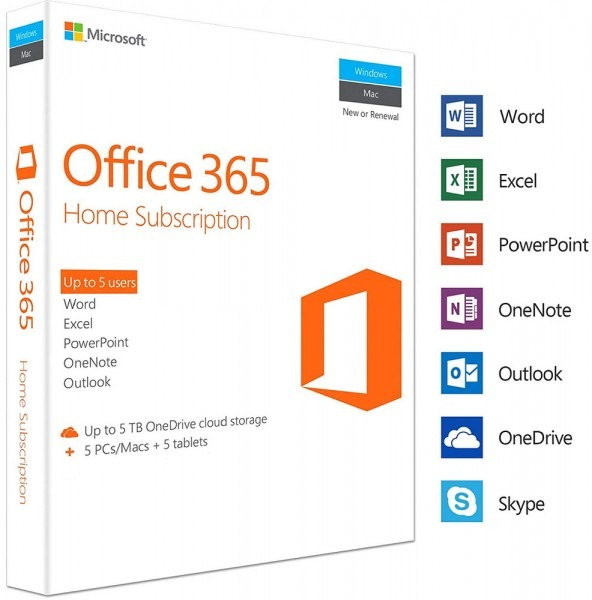 Microsoft Office 365 Home 2016 2019 Pro Plus 1 Year 5 Pc Mac