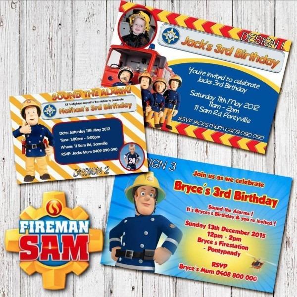 Personalised Fireman Sam Birthday Invitation Party Invite Photo