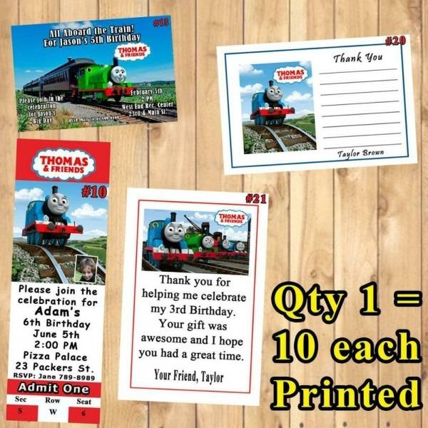 Thomas Train Printed Birthday Invitation 10ea Or Thank U Cards 10