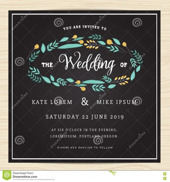 Save The Date, Wedding Invitation Card Template With Wreath Flower