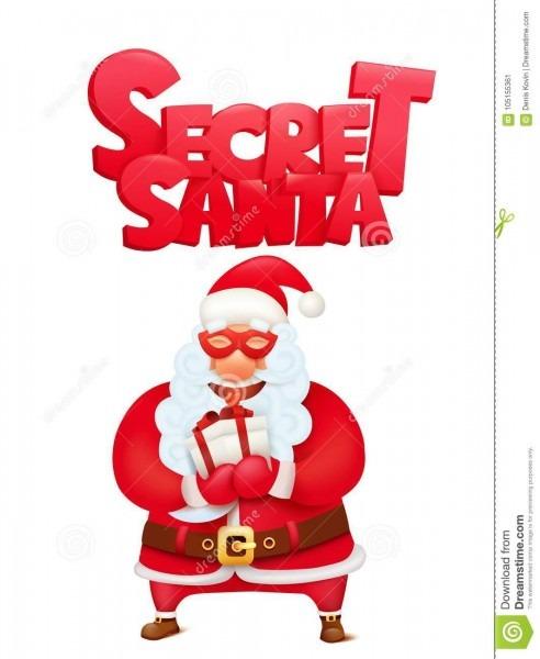 Secret Santa Claus Invitation Concept Card Template Stock