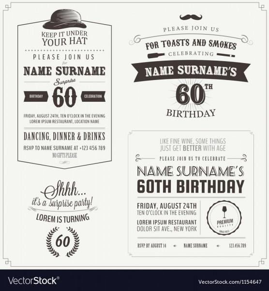 Set Of Adult Birthday Invitation Design Elements Vector Image