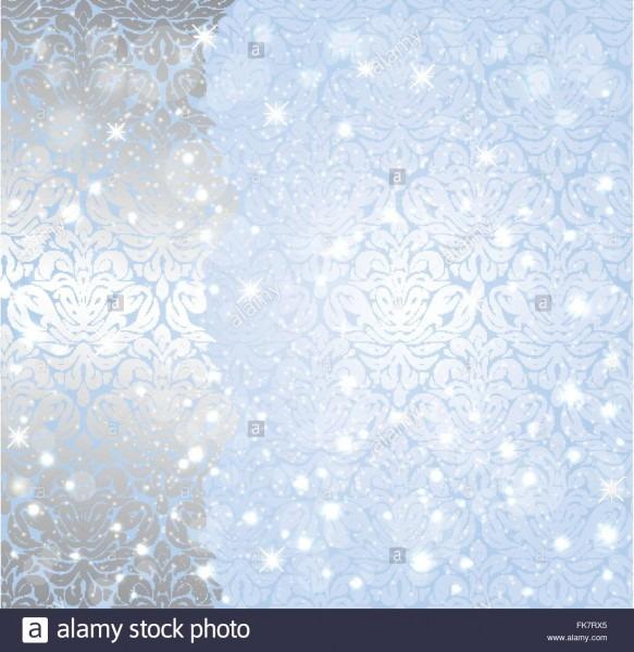 Shiny Blue Christmas Winter Snowflake Vintage Invitation