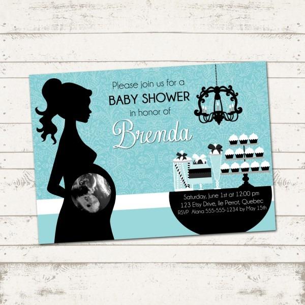 Silhouette Baby Shower Invitations Etsy Invitations Elegant Baby