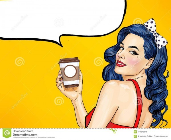 Smiling Pop Art Woman With Coffee Cup  Advertising Poster Or Party