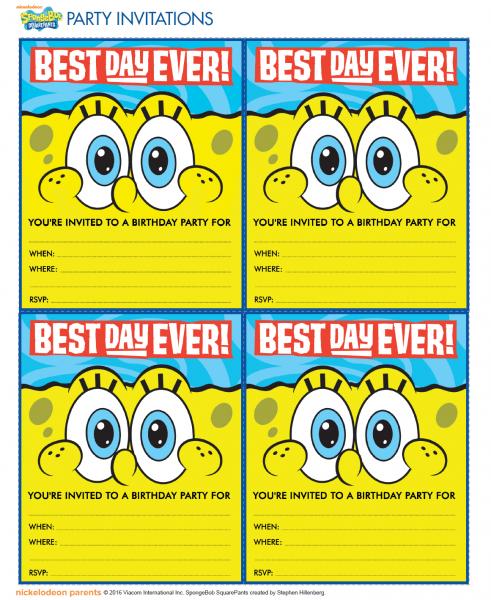 Spongebob Birthday Invitations Spongebob Birthday Invitations
