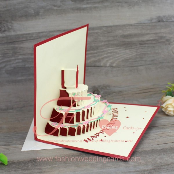 Source Standard Size Greeting Cards Handmade Red 3d Birthday