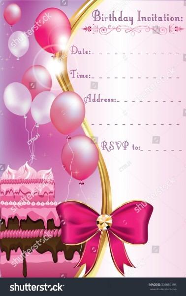 Birthday Invitation Card Print Printable Invitation Stock Vector