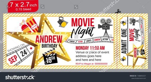 Birthday Party Invitation Movie Party Invitation Stock Vector
