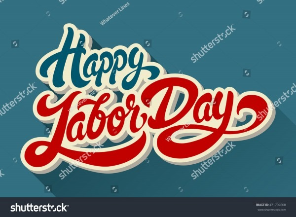 Happy Labor Day Hand Drawn Lettering Stock Vector (royalty Free