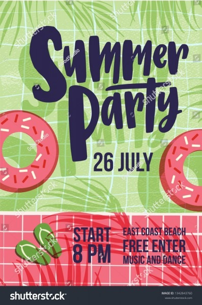 Invitation Template Summer Open Air Party Stock Vector (royalty