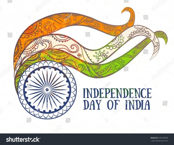 Ornametal Poster Independence Day India Celebrated Stock Vector