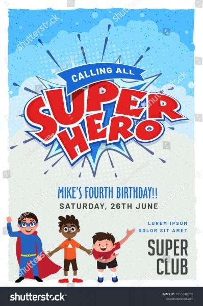 Superhero Invitation Card Design Kids Birthday Stock Vector