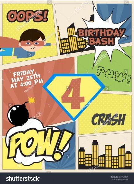 Superhero Party Invitation Card Stock Vector (royalty Free