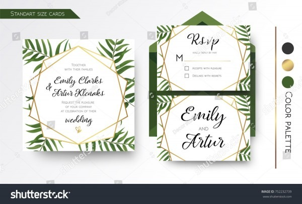 Wedding Invitation Save Date Rsvp Invite Stock Vector (royalty