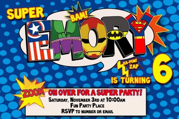 Superhero Birthday Invitations Superhero Birthday Invitations For