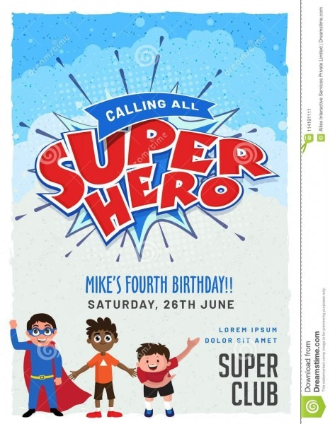 Superhero Invitation Card For Birthday  Stock Illustration