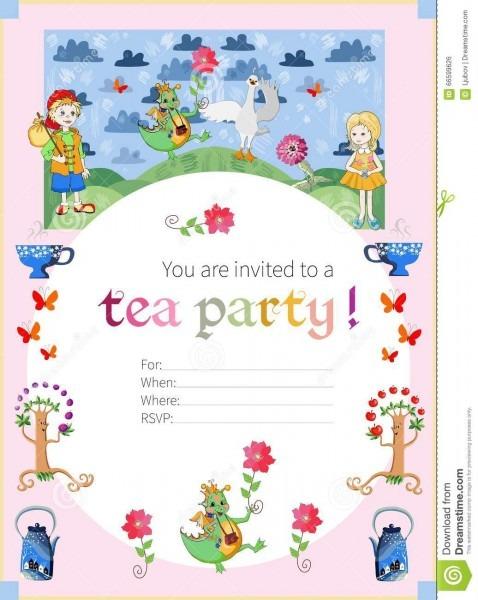 Tea Party Invitation For Kids  Cute Illustration Of Fairy Land