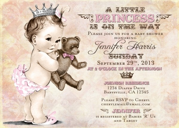 Baby Shower  Princess Theme Baby Shower Invitations  Themes Baby
