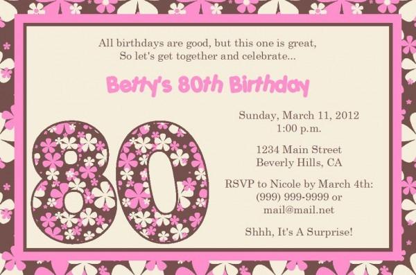 Sample 80th Birthday Invitation Wording