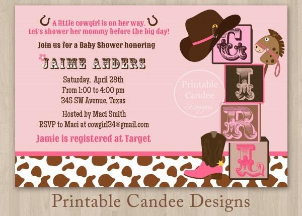 Theme Western Baby Shower Invitations Free Cowboy Baby Self