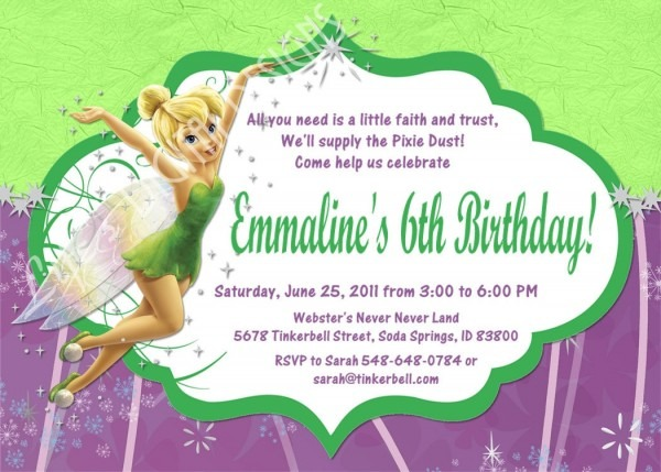 Tinkerbell Birthday Invitations Tinkerbell Birthday Invitations As