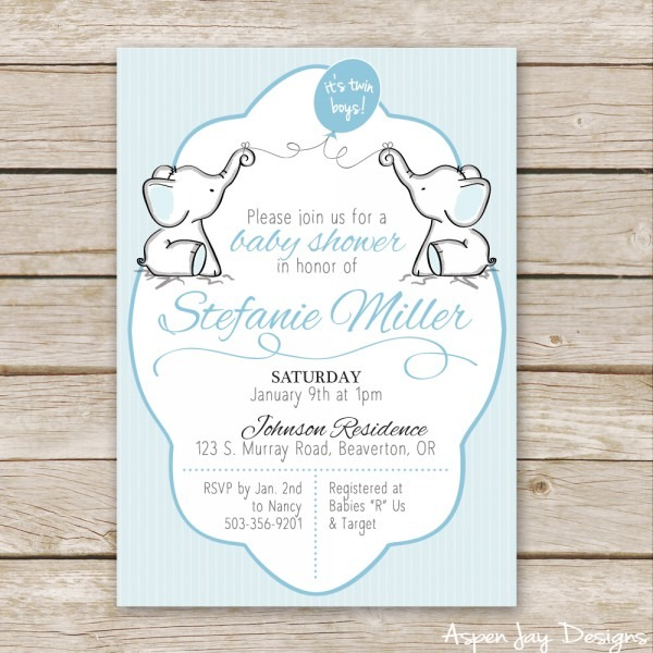 Baby Shower  Twin Baby Shower Invitations  Twin Elephant Baby