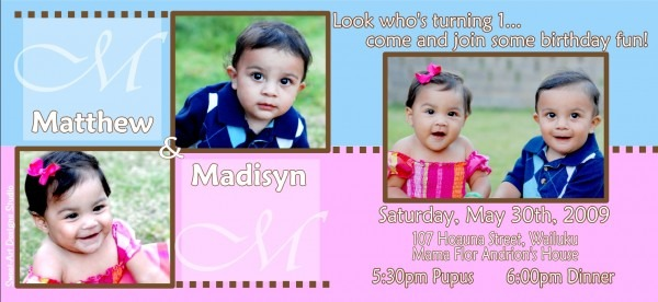 Twins – First Birthday Invitation – M & M