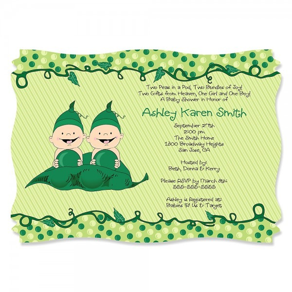 Baby Shower  Twin Baby Shower Invitations  Twins Two Peas In A Pod