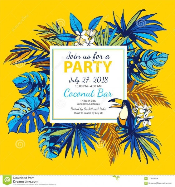 Vector Illustration Tropical Floral Summer Party Poster Invitation