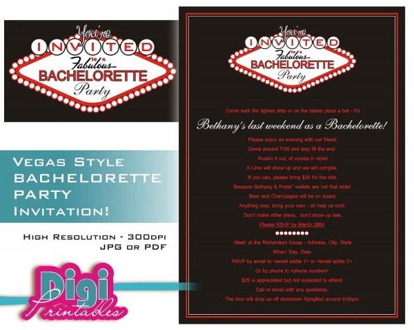 Vegas Bachelorette Invitations