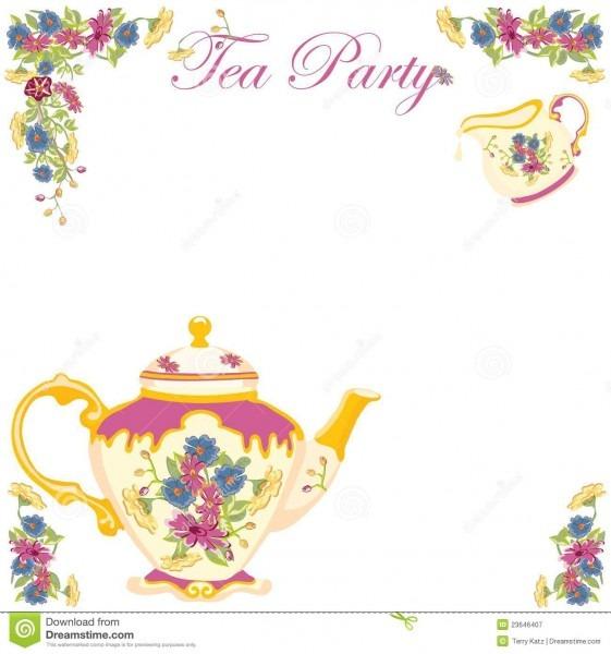 Victorian Tea Pot Tea Party Invitation Stock Vector