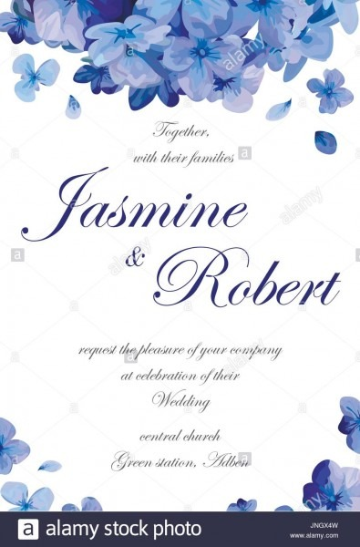 Wedding Invitation Flower Invite Card Design With Blue Purple