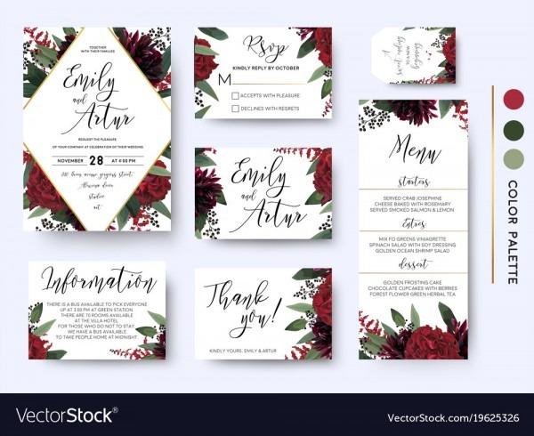 Wedding Invitation Save The Date Rsvp Design Set Vector Image