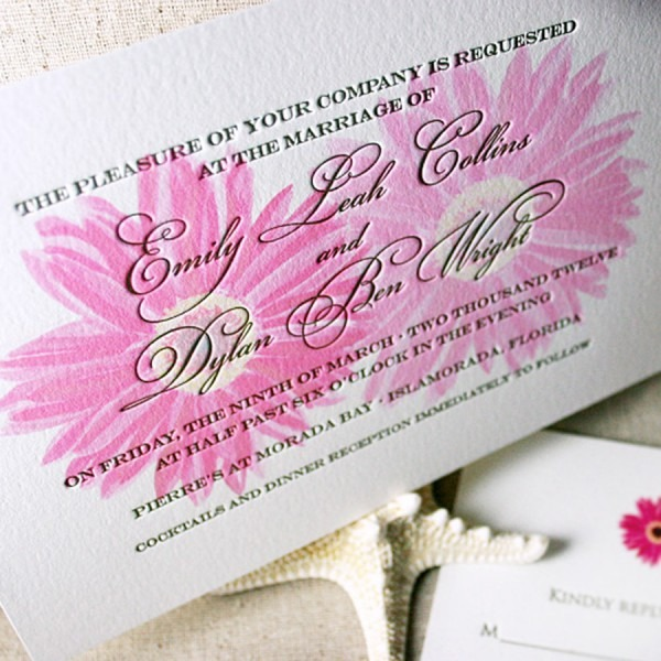Gerbera Daisy Letterpress Wedding Invitations