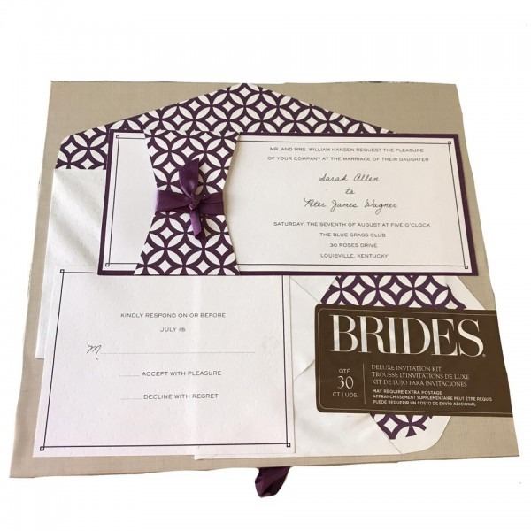 White And Purple Brides Invitation Kit