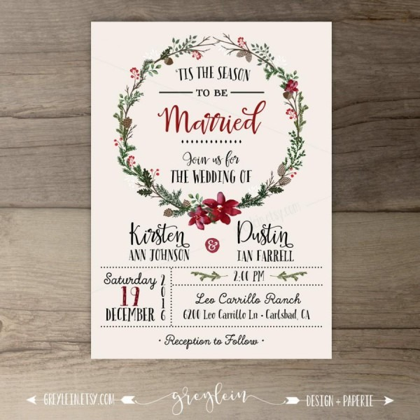 Winter Wedding Invitations • Wreath • 'tis The Season To Be