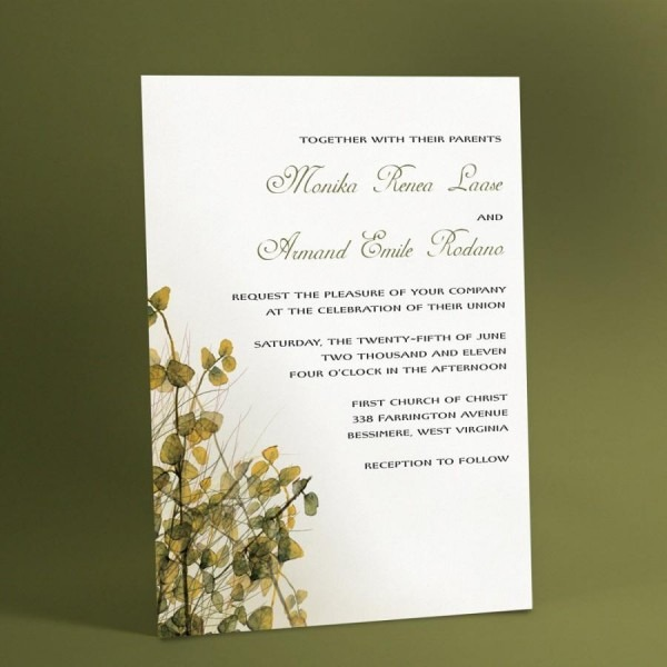 Woodland Wedding Invitations With Watercolor Imagery Of Leafy